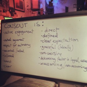 Brainstorming consent, one word at a time.